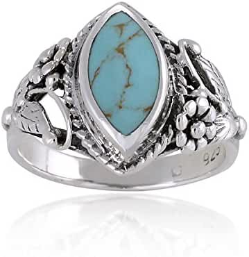 925 Sterling Silver Blue Turquoise Stone Vintage Style Band Ring - Nickel Free